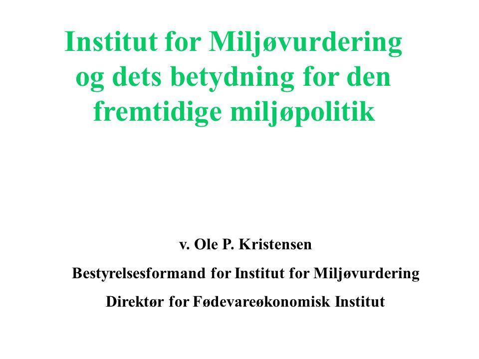 Institut for Miljøvurdering og dets betydning for den fremtidige miljøpolitik v.