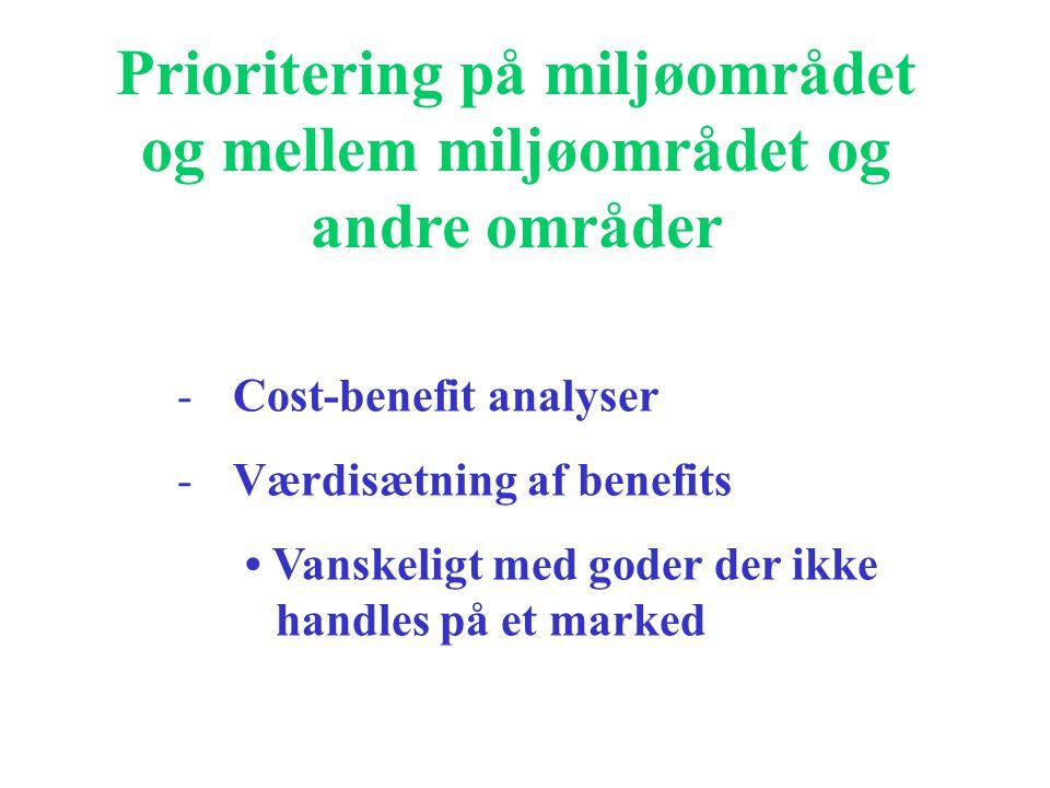 Prioritering på miljøområdet og mellem miljøområdet og andre områder -Cost-benefit analyser -Værdisætning af benefits Vanskeligt med goder der ikke handles på et marked