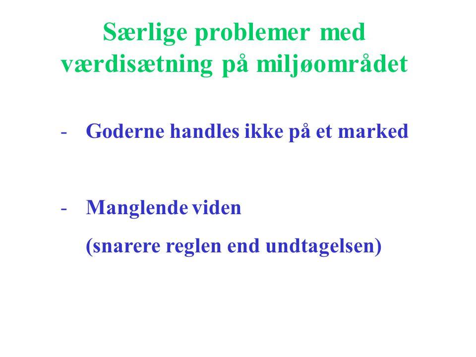 Særlige problemer med værdisætning på miljøområdet -Goderne handles ikke på et marked -Manglende viden (snarere reglen end undtagelsen)