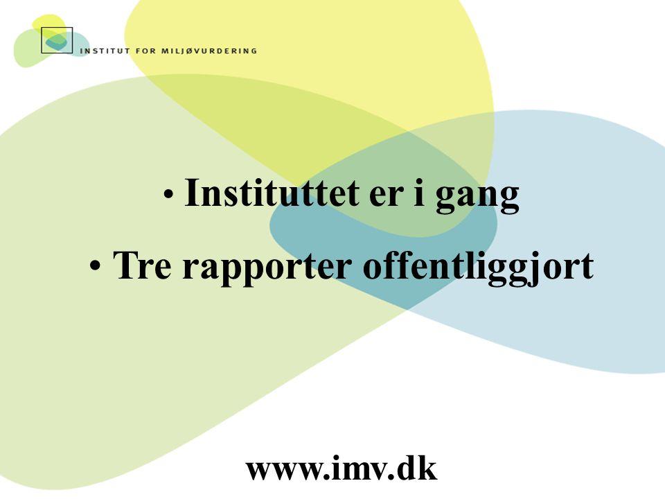 Instituttet er i gang Tre rapporter offentliggjort www.imv.dk
