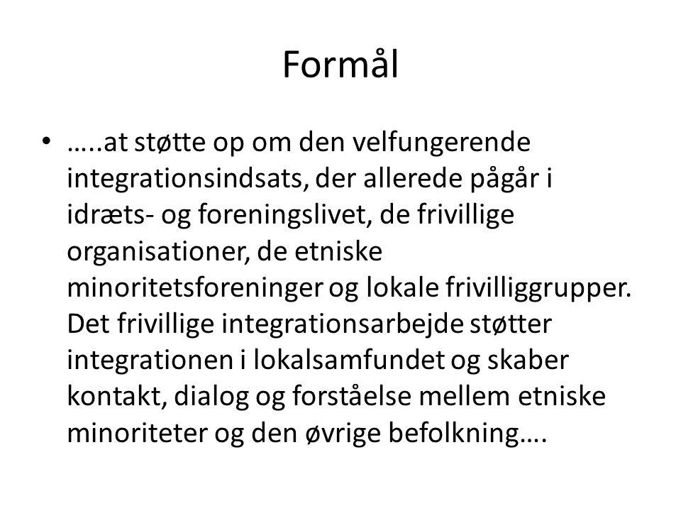 Formål …..at støtte op om den velfungerende integrationsindsats, der allerede pågår i idræts- og foreningslivet, de frivillige organisationer, de etniske minoritetsforeninger og lokale frivilliggrupper.