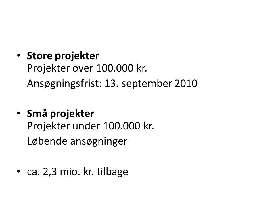 Store projekter Projekter over 100.000 kr. Ansøgningsfrist: 13.