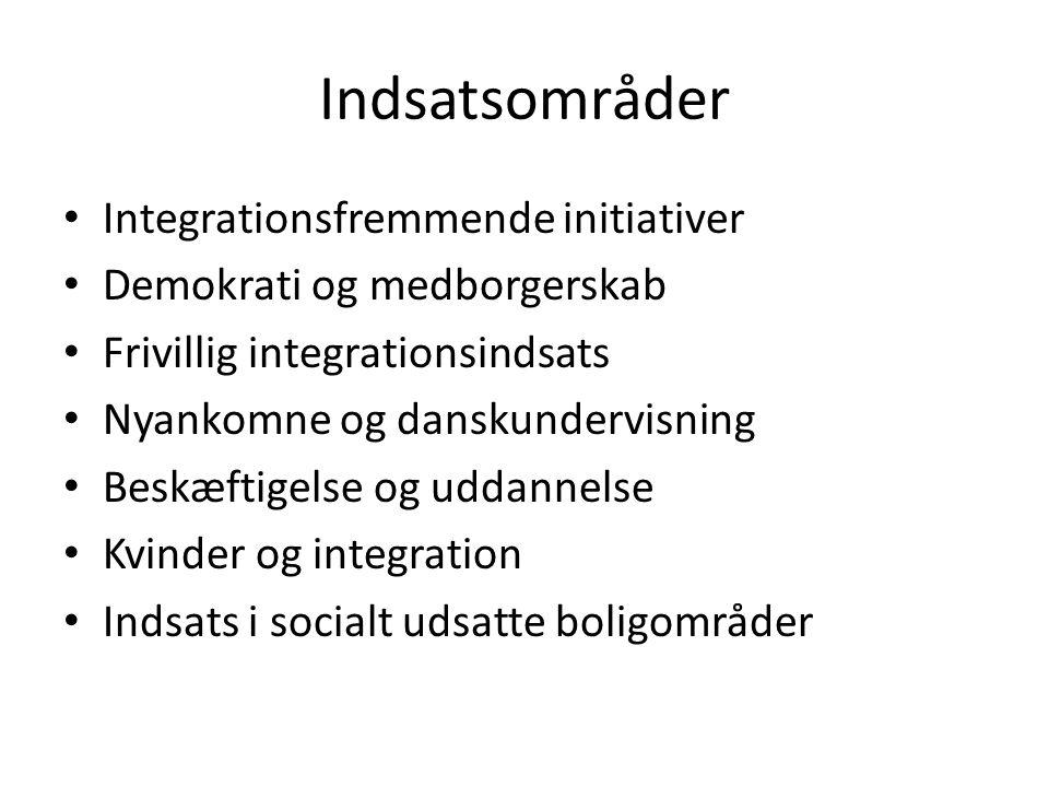 Indsatsområder Integrationsfremmende initiativer Demokrati og medborgerskab Frivillig integrationsindsats Nyankomne og danskundervisning Beskæftigelse og uddannelse Kvinder og integration Indsats i socialt udsatte boligområder