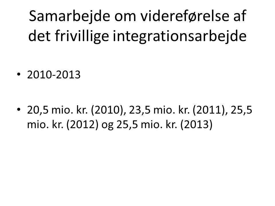 Samarbejde om videreførelse af det frivillige integrationsarbejde 2010-2013 20,5 mio.