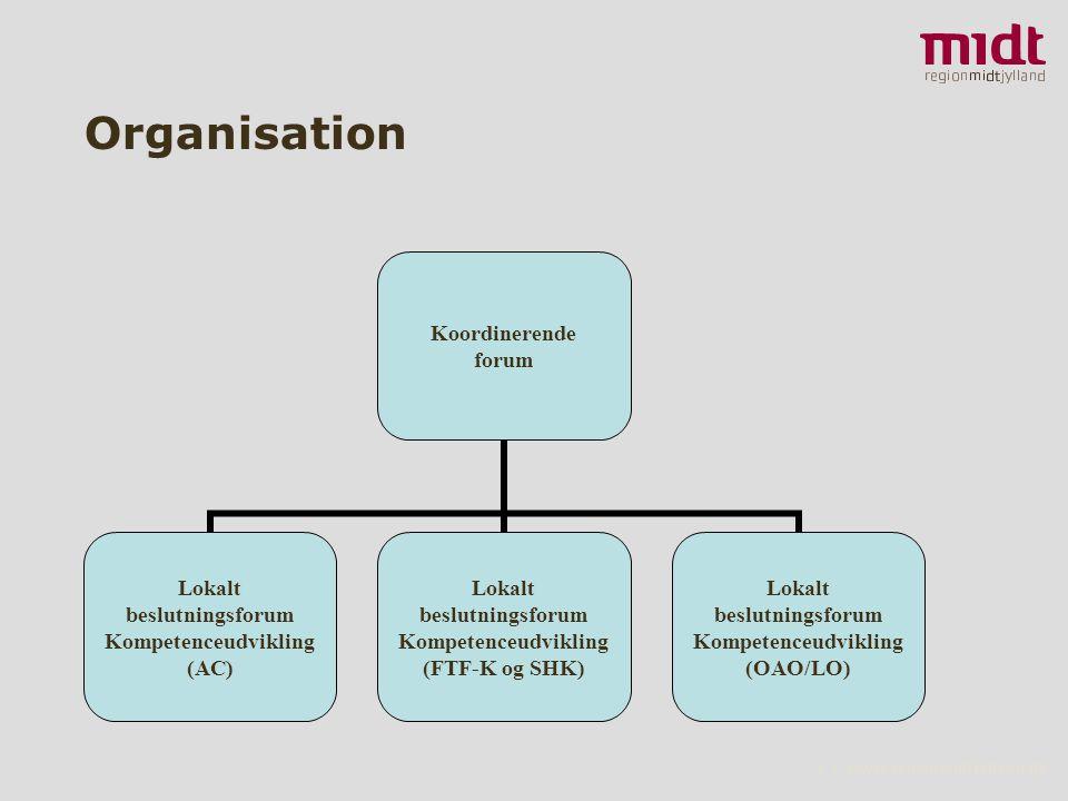 2 ▪ www.regionmidtjylland.dk Organisation Koordinerende forum Lokalt beslutningsforum Kompetenceudvikling (AC) Lokalt beslutningsforum Kompetenceudvikling (FTF-K og SHK) Lokalt beslutningsforum Kompetenceudvikling (OAO/LO)