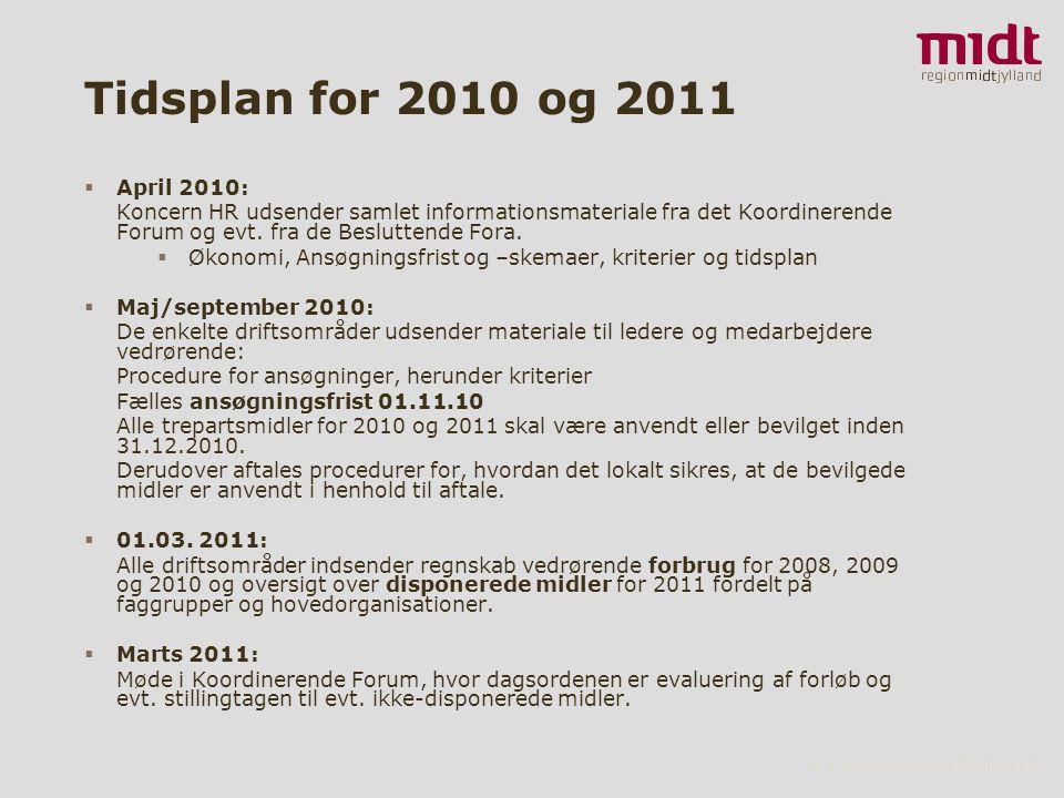 8 ▪ www.regionmidtjylland.dk Tidsplan for 2010 og 2011  April 2010: Koncern HR udsender samlet informationsmateriale fra det Koordinerende Forum og evt.