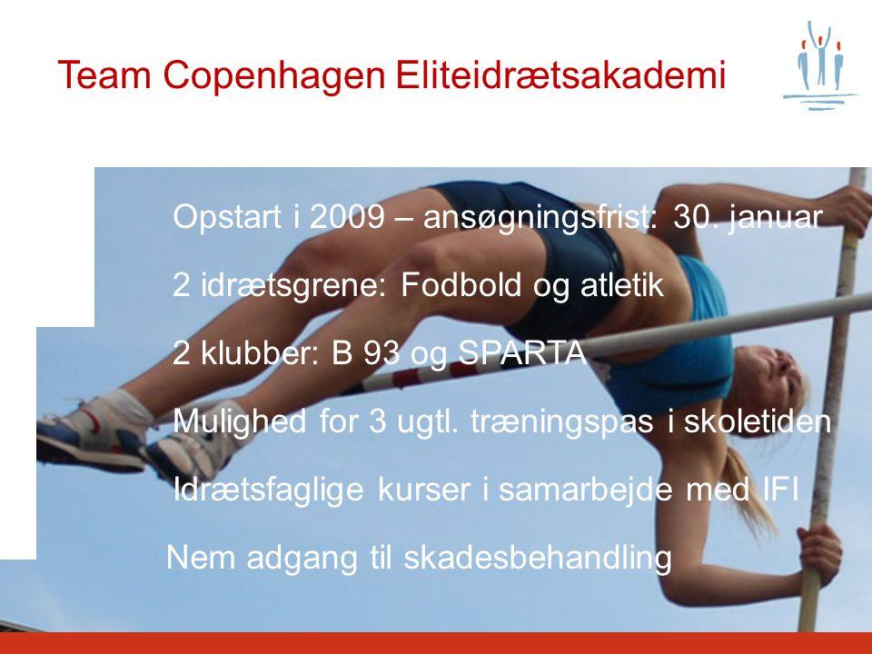 Team Copenhagen Eliteidrætsakademi Opstart i 2009 – ansøgningsfrist: 30.