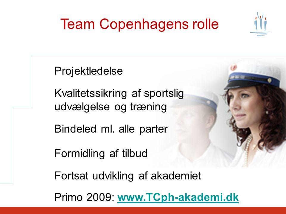 Team Copenhagens rolle Projektledelse Kvalitetssikring af sportslig udvælgelse og træning Bindeled ml.
