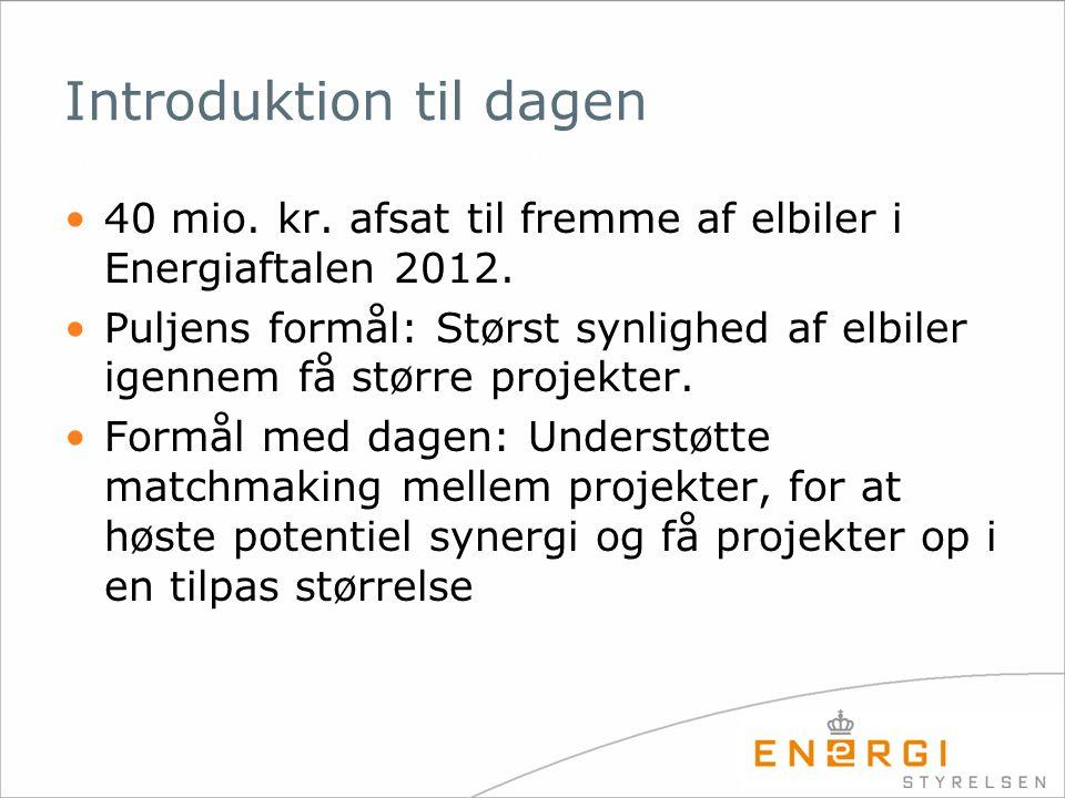 Introduktion til dagen 40 mio. kr. afsat til fremme af elbiler i Energiaftalen 2012.