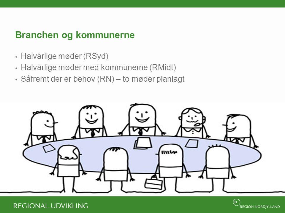 Branchen og kommunerne Halvårlige møder (RSyd) Halvårlige møder med kommunerne (RMidt) Såfremt der er behov (RN) – to møder planlagt