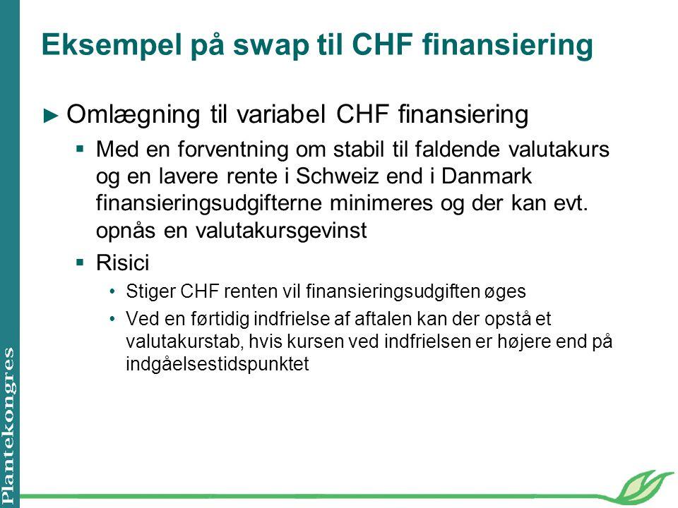 Eksempel på swap til CHF finansiering ► Omlægning til variabel CHF finansiering  Med en forventning om stabil til faldende valutakurs og en lavere rente i Schweiz end i Danmark finansieringsudgifterne minimeres og der kan evt.