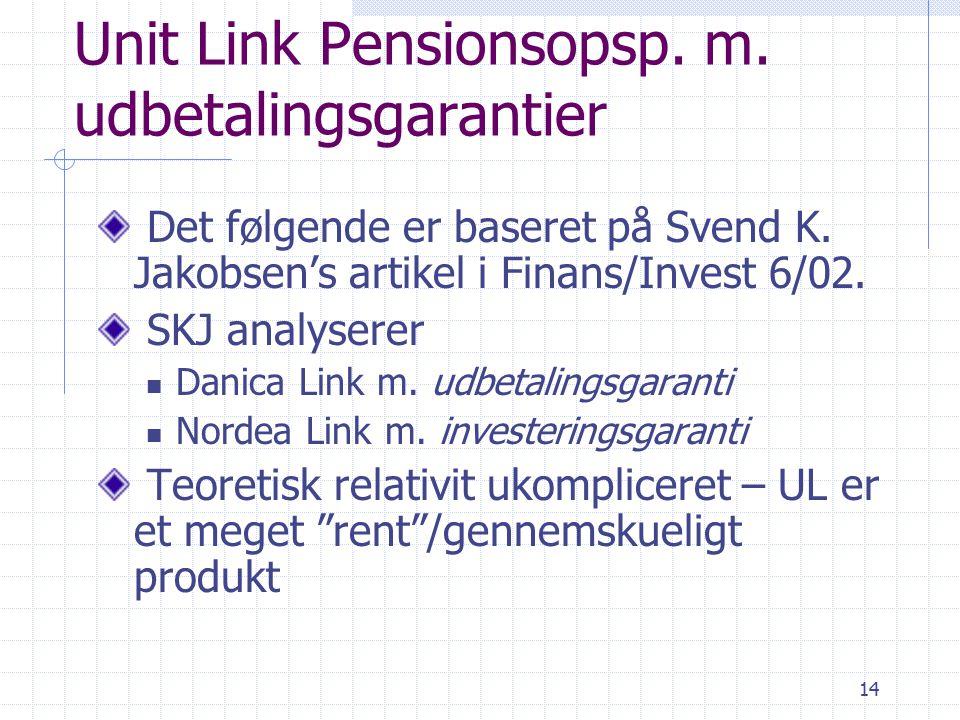 14 Unit Link Pensionsopsp. m. udbetalingsgarantier Det følgende er baseret på Svend K.