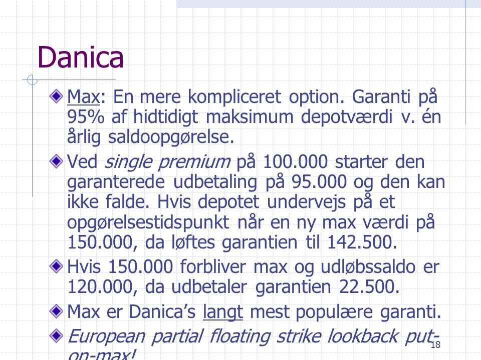 18 Danica Max: En mere kompliceret option. Garanti på 95% af hidtidigt maksimum depotværdi v.
