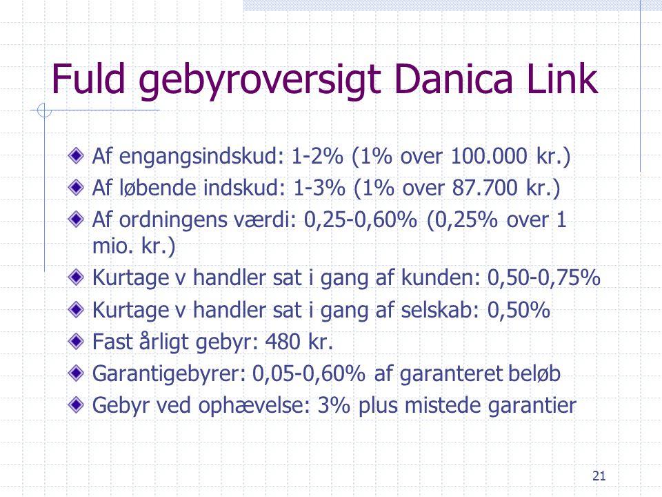 21 Fuld gebyroversigt Danica Link Af engangsindskud: 1-2% (1% over 100.000 kr.) Af løbende indskud: 1-3% (1% over 87.700 kr.) Af ordningens værdi: 0,25-0,60% (0,25% over 1 mio.