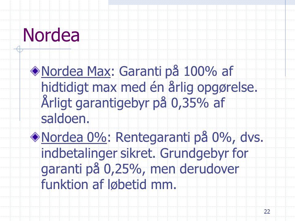 22 Nordea Nordea Max: Garanti på 100% af hidtidigt max med én årlig opgørelse.