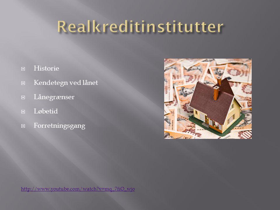  Historie  Kendetegn ved lånet  Lånegrænser  Løbetid  Forretningsgang http://www.youtube.com/watch v=mq_7fiO_wjo