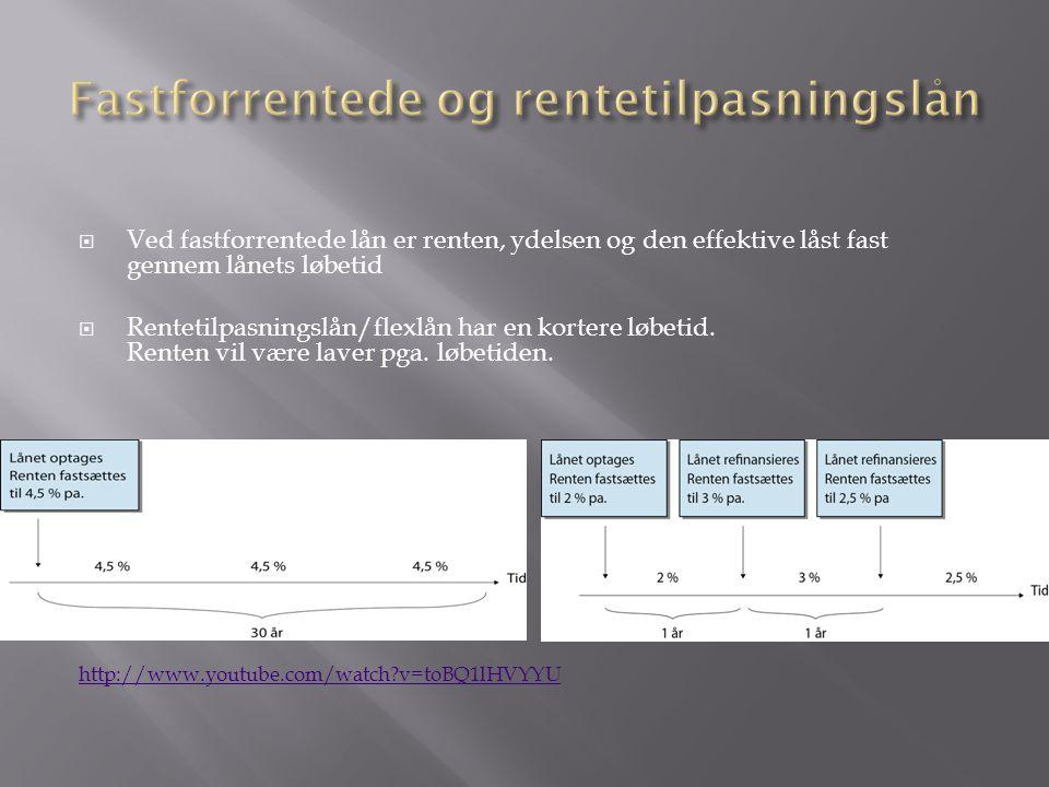  Ved fastforrentede lån er renten, ydelsen og den effektive låst fast gennem lånets løbetid  Rentetilpasningslån/flexlån har en kortere løbetid.