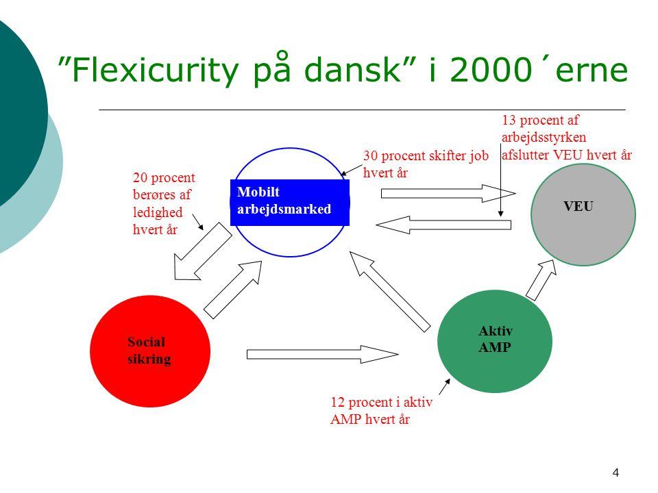 4 Flexicurity på dansk i 2000´erne Mobilt arbejdsmarked Social sikring Aktiv AMP 30 procent skifter job hvert år 20 procent berøres af ledighed hvert år 12 procent i aktiv AMP hvert år VEU 13 procent af arbejdsstyrken afslutter VEU hvert år