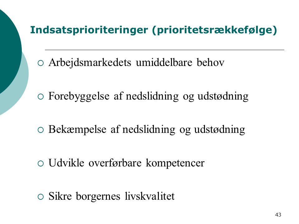43 Indsatsprioriteringer (prioritetsrækkefølge)  Arbejdsmarkedets umiddelbare behov  Forebyggelse af nedslidning og udstødning  Bekæmpelse af nedslidning og udstødning  Udvikle overførbare kompetencer  Sikre borgernes livskvalitet