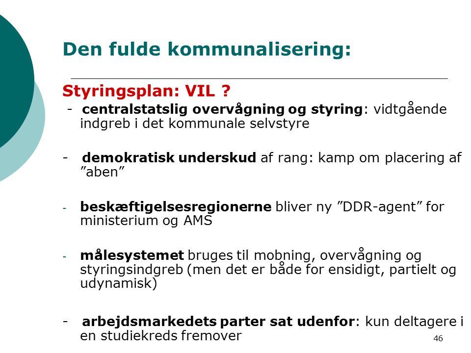 46 Den fulde kommunalisering: Styringsplan: VIL .