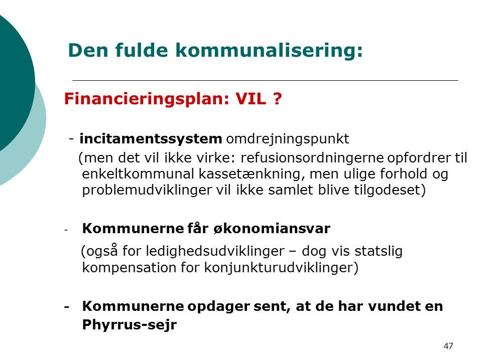 47 Den fulde kommunalisering: Financieringsplan: VIL .