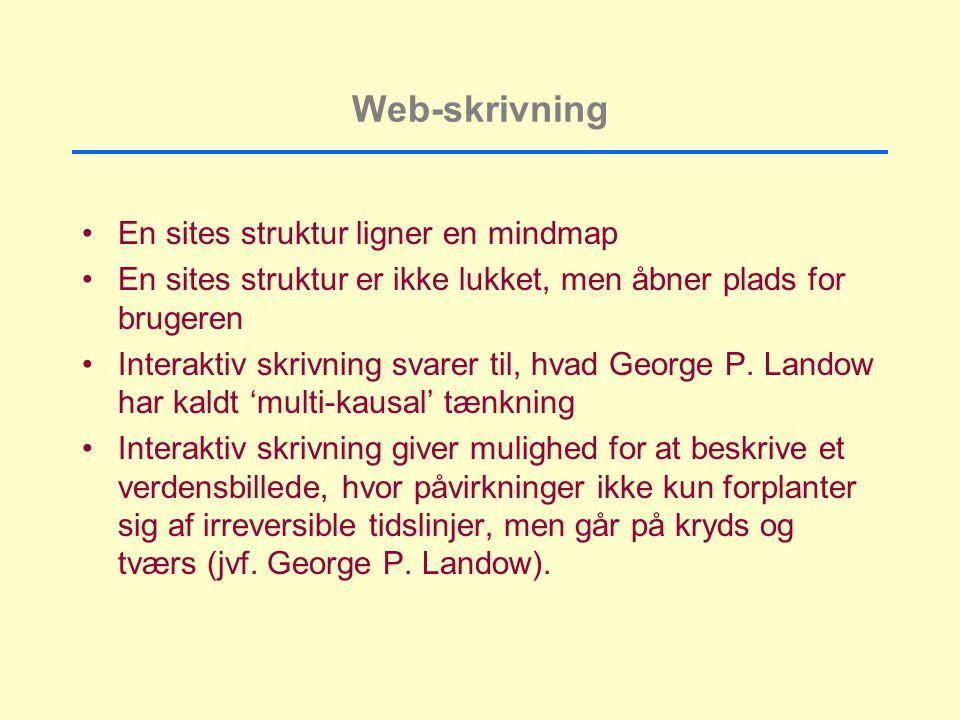 Web-skrivning En sites struktur ligner en mindmap En sites struktur er ikke lukket, men åbner plads for brugeren Interaktiv skrivning svarer til, hvad George P.