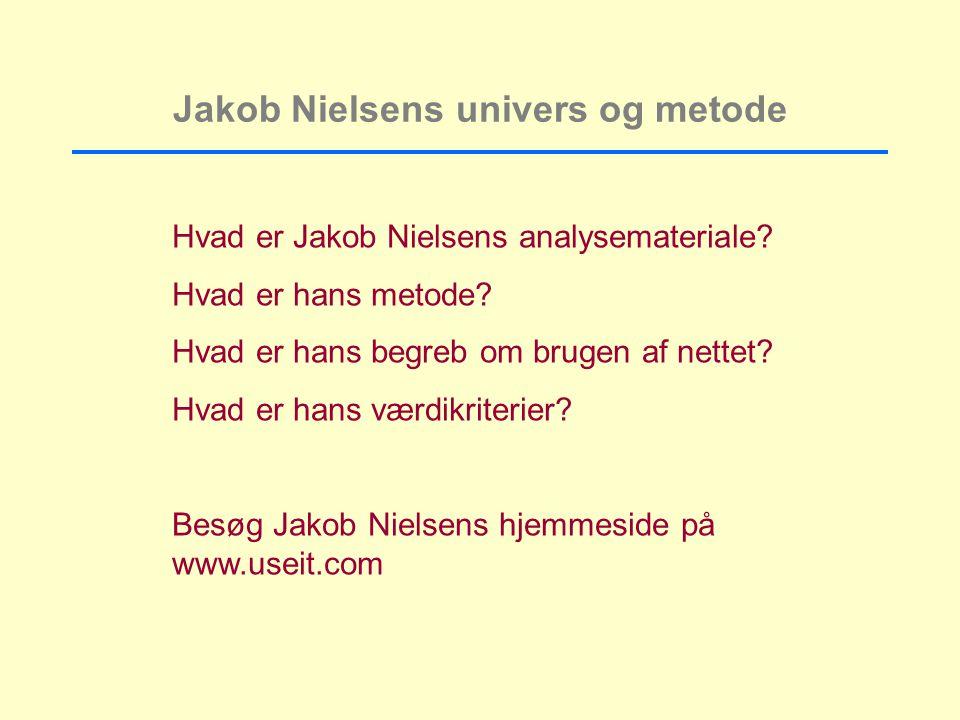 Jakob Nielsens univers og metode Hvad er Jakob Nielsens analysemateriale.