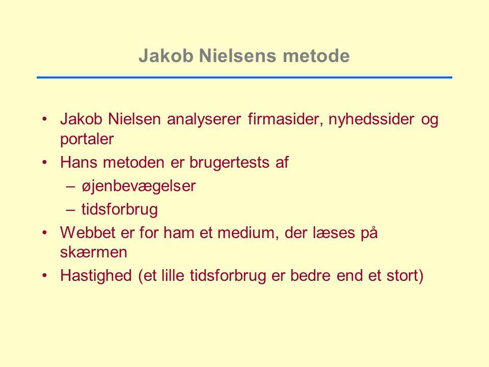 Jakob Nielsens metode Jakob Nielsen analyserer firmasider, nyhedssider og portaler Hans metoden er brugertests af –øjenbevægelser –tidsforbrug Webbet er for ham et medium, der læses på skærmen Hastighed (et lille tidsforbrug er bedre end et stort)