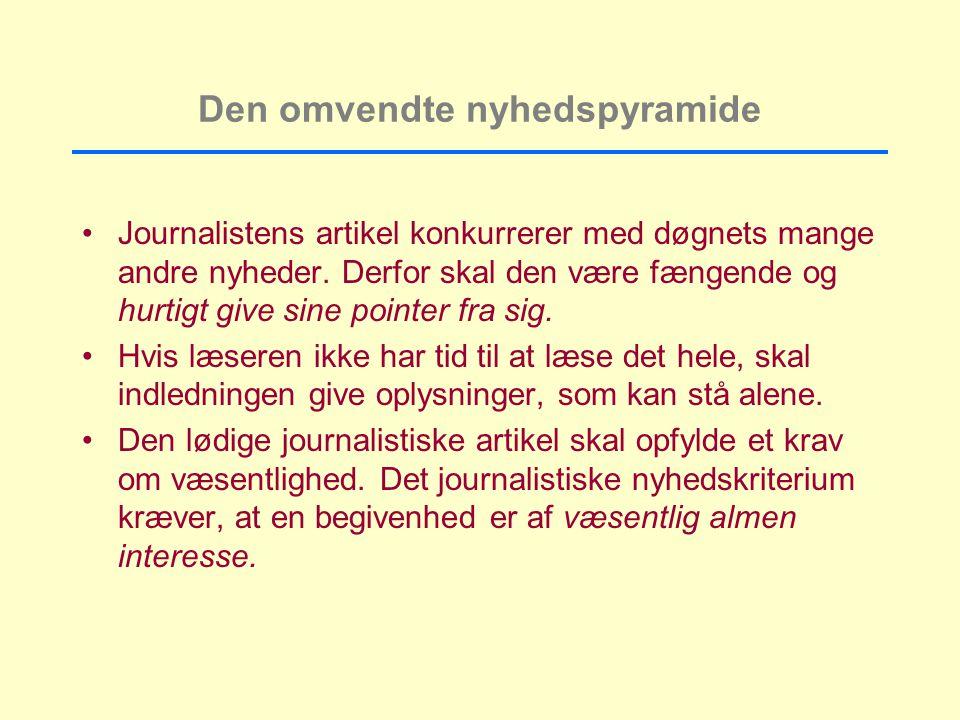 Den omvendte nyhedspyramide Journalistens artikel konkurrerer med døgnets mange andre nyheder.