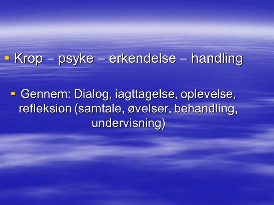  Krop – psyke – erkendelse – handling  Gennem: Dialog, iagttagelse, oplevelse, refleksion (samtale, øvelser, behandling, undervisning)