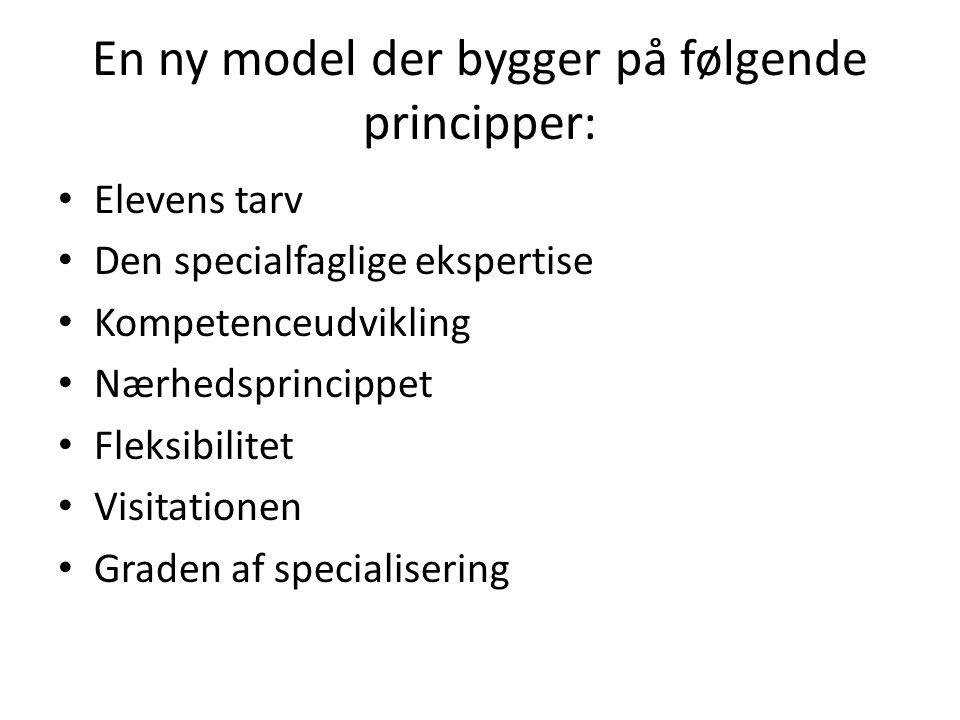En ny model der bygger på følgende principper: Elevens tarv Den specialfaglige ekspertise Kompetenceudvikling Nærhedsprincippet Fleksibilitet Visitationen Graden af specialisering