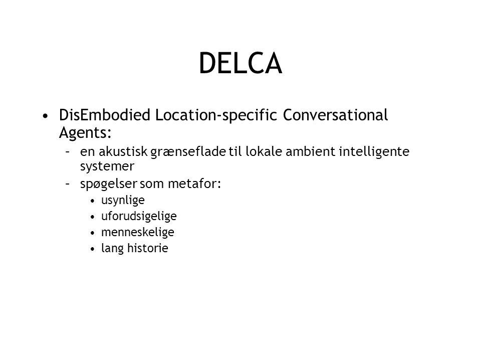 DELCA DisEmbodied Location-specific Conversational Agents: –en akustisk grænseflade til lokale ambient intelligente systemer –spøgelser som metafor: usynlige uforudsigelige menneskelige lang historie