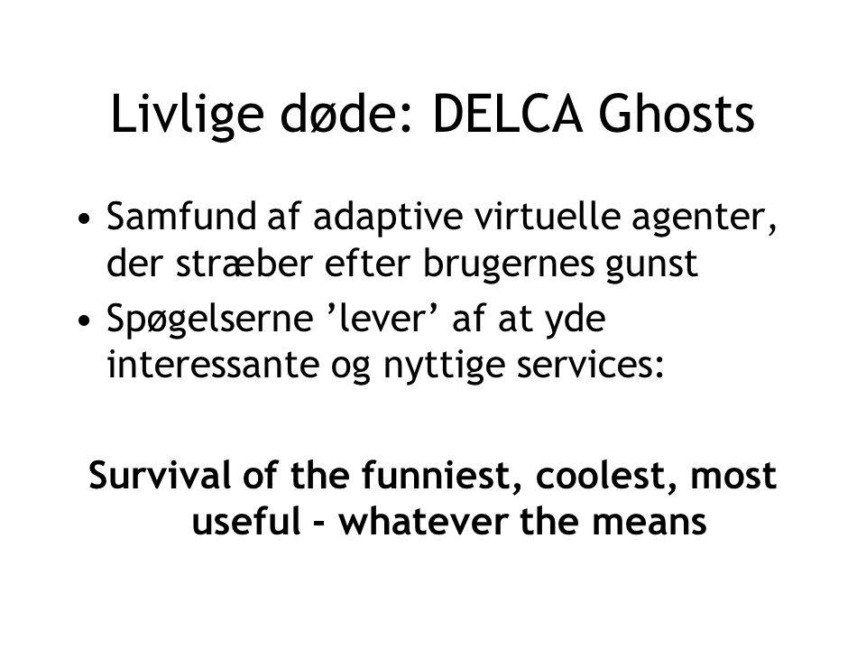 Livlige døde: DELCA Ghosts Samfund af adaptive virtuelle agenter, der stræber efter brugernes gunst Spøgelserne 'lever' af at yde interessante og nyttige services: Survival of the funniest, coolest, most useful - whatever the means