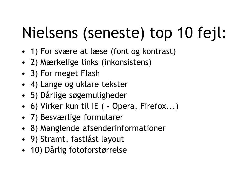 Nielsens (seneste) top 10 fejl: 1) For svære at læse (font og kontrast) 2) Mærkelige links (inkonsistens) 3) For meget Flash 4) Lange og uklare tekster 5) Dårlige søgemuligheder 6) Virker kun til IE ( - Opera, Firefox...) 7) Besværlige formularer 8) Manglende afsenderinformationer 9) Stramt, fastlåst layout 10) Dårlig fotoforstørrelse