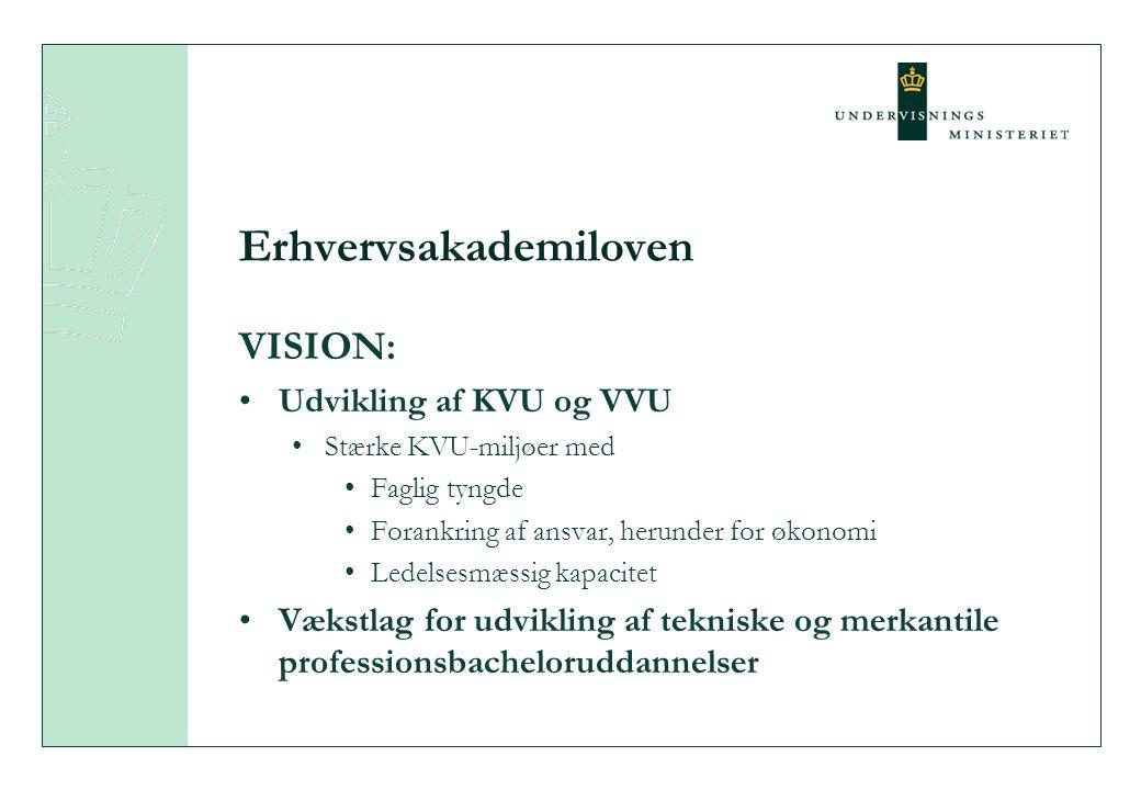 Erhvervsakademiloven VISION: Udvikling af KVU og VVU Stærke KVU-miljøer med Faglig tyngde Forankring af ansvar, herunder for økonomi Ledelsesmæssig kapacitet Vækstlag for udvikling af tekniske og merkantile professionsbacheloruddannelser
