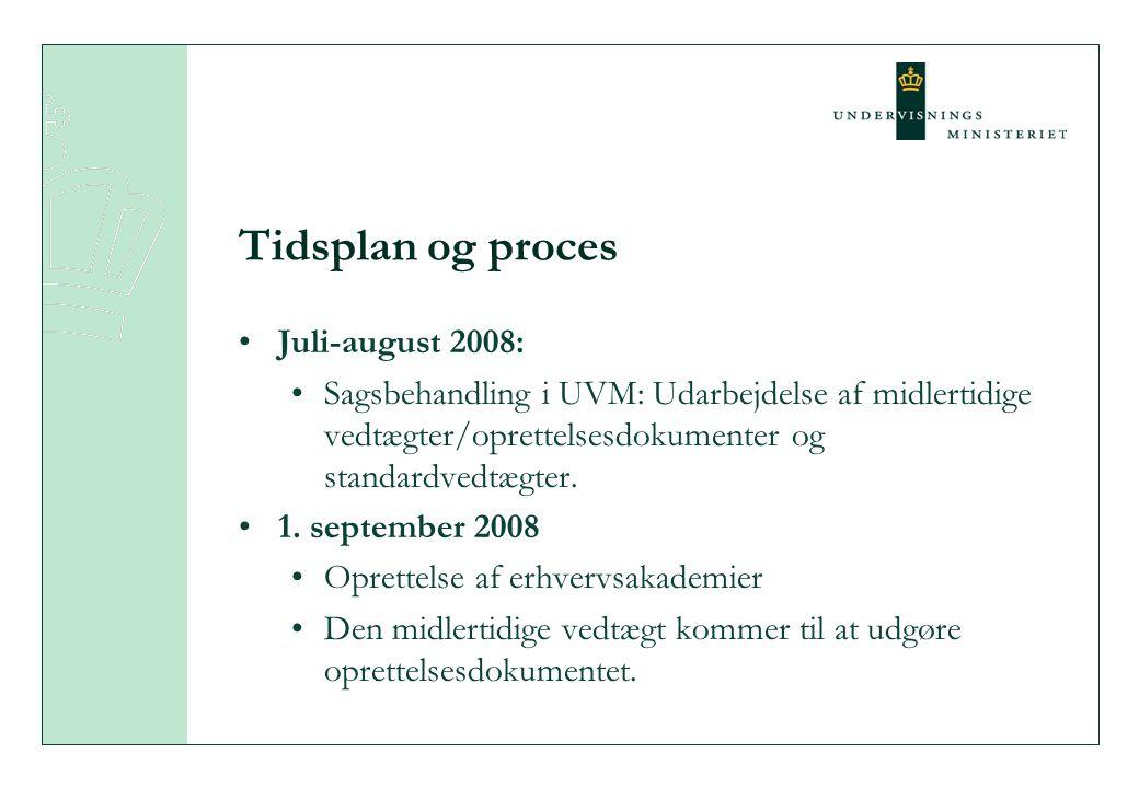 Tidsplan og proces Juli-august 2008: Sagsbehandling i UVM: Udarbejdelse af midlertidige vedtægter/oprettelsesdokumenter og standardvedtægter.