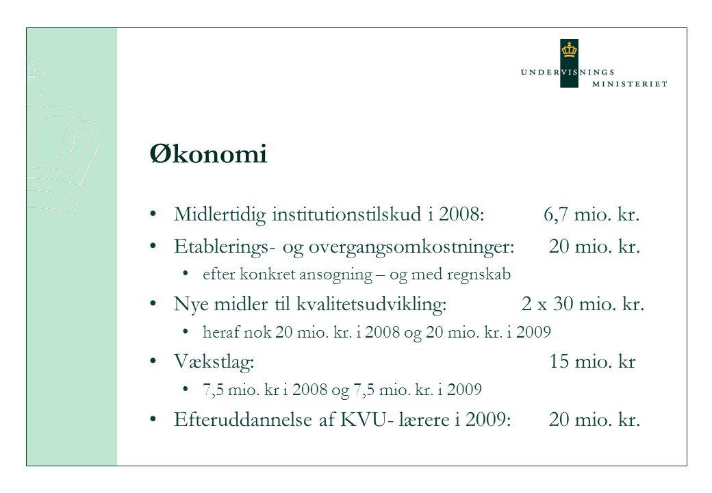 Økonomi Midlertidig institutionstilskud i 2008: 6,7 mio.