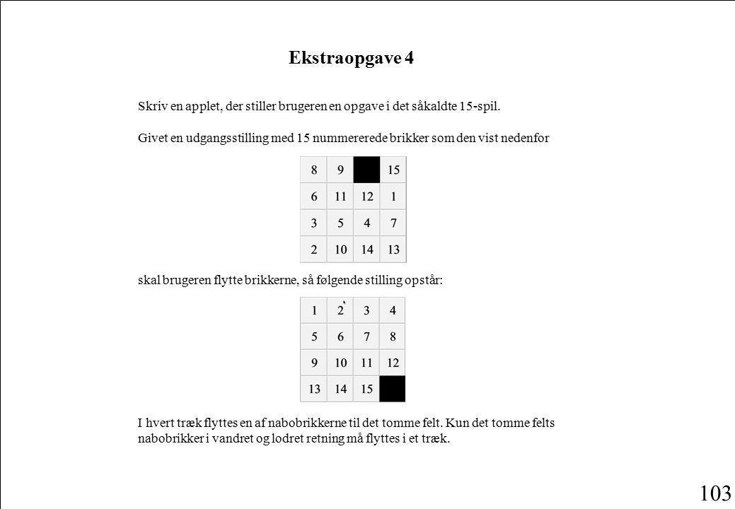103 Ekstraopgave 4 Skriv en applet, der stiller brugeren en opgave i det såkaldte 15-spil.