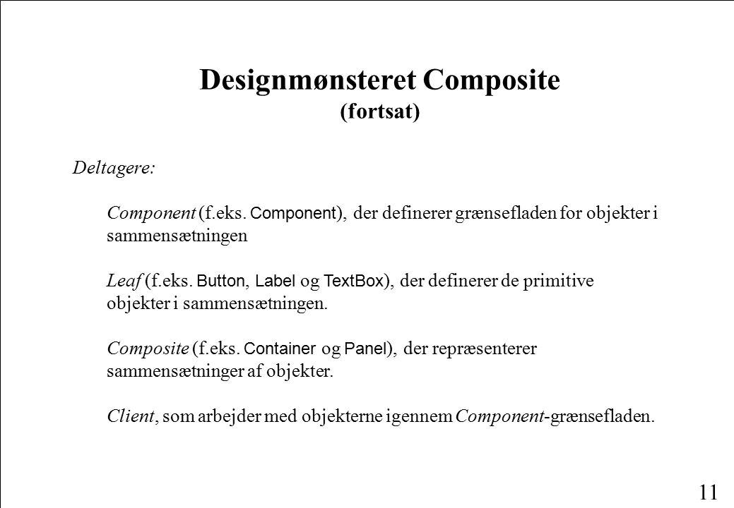 11 Designmønsteret Composite (fortsat) Deltagere: Component (f.eks.