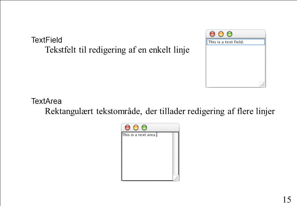 15 TextField Tekstfelt til redigering af en enkelt linje TextArea Rektangulært tekstområde, der tillader redigering af flere linjer