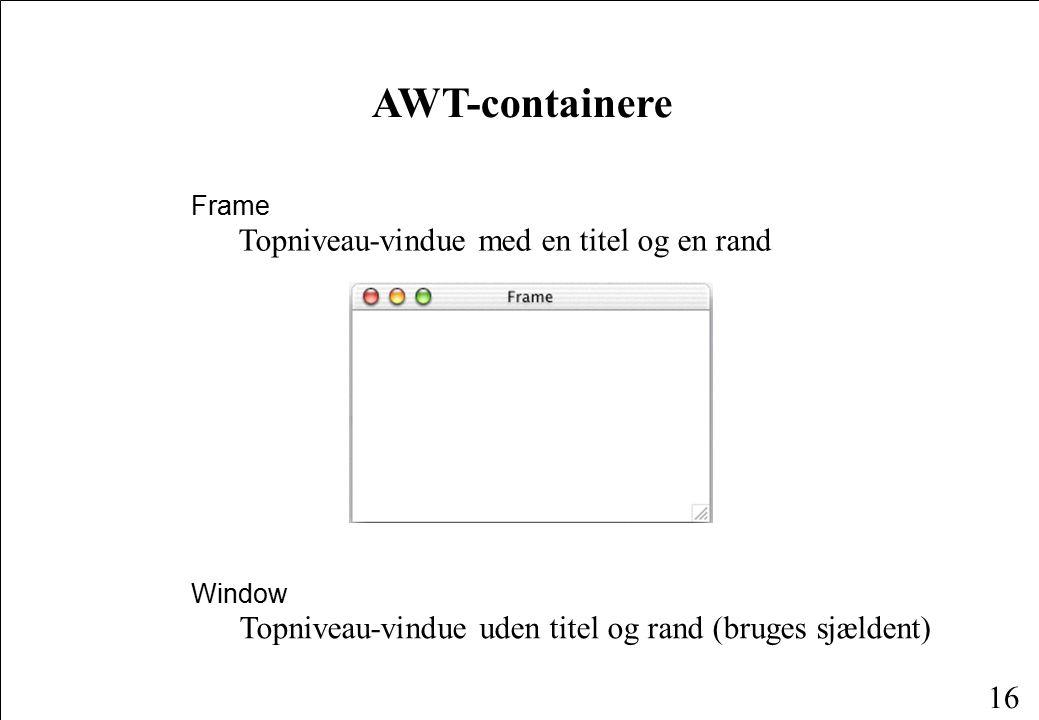 16 AWT-containere Window Topniveau-vindue uden titel og rand (bruges sjældent) Frame Topniveau-vindue med en titel og en rand