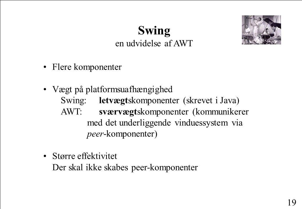 19 Flere komponenter Vægt på platformsuafhængighed Swing: letvægtskomponenter (skrevet i Java) AWT: sværvægtskomponenter (kommunikerer med det underliggende vinduessystem via peer-komponenter) Større effektivitet Der skal ikke skabes peer-komponenter Swing en udvidelse af AWT
