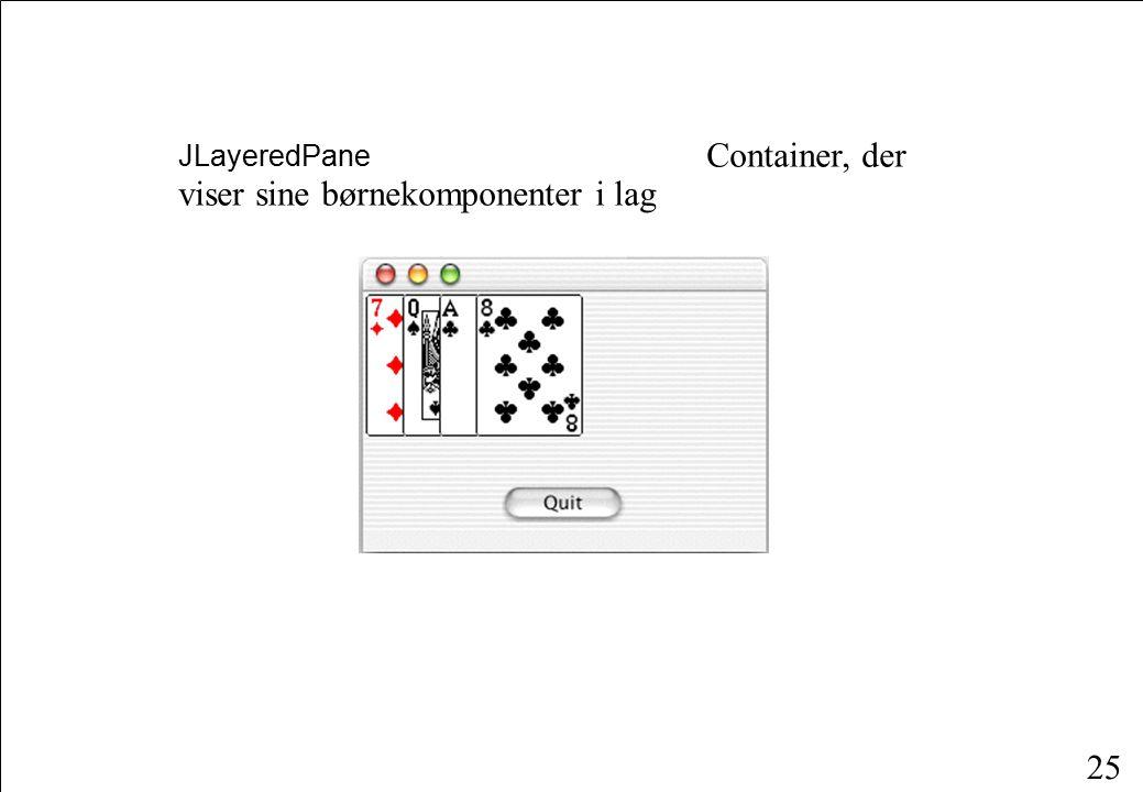 25 JLayeredPane Container, der viser sine børnekomponenter i lag