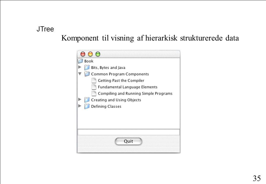 35 JTree Komponent til visning af hierarkisk strukturerede data