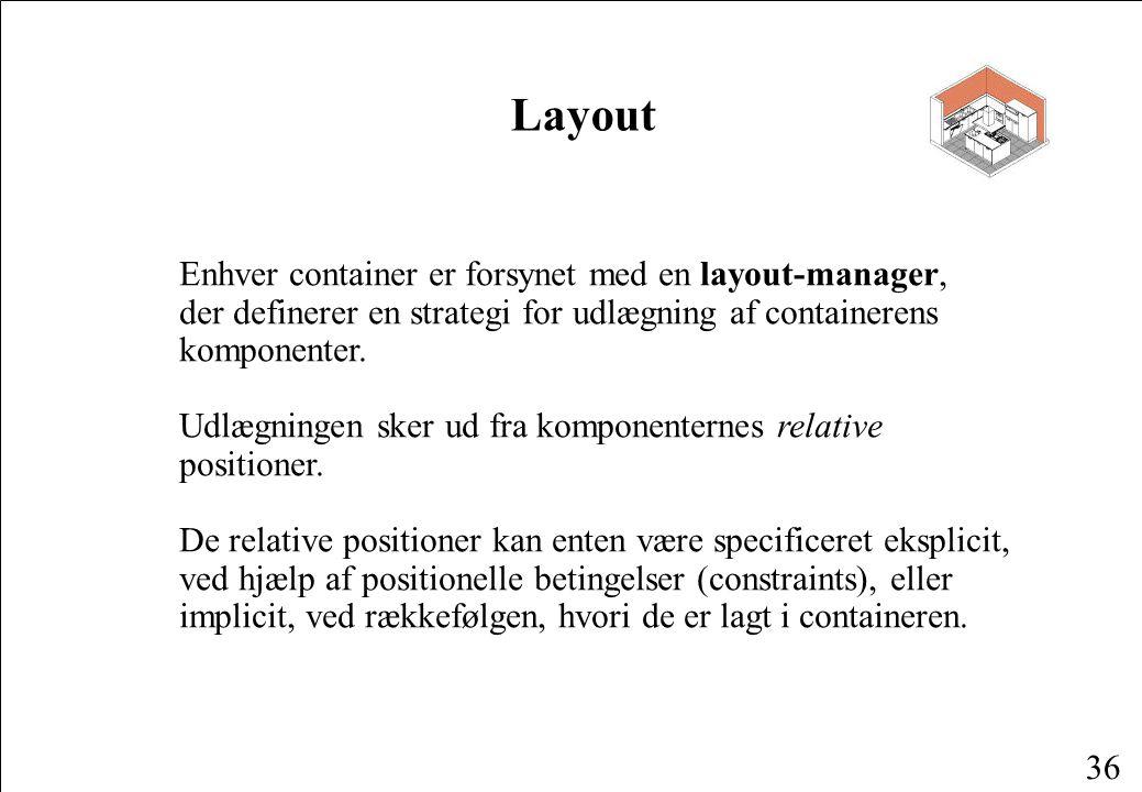 36 Layout Enhver container er forsynet med en layout-manager, der definerer en strategi for udlægning af containerens komponenter.