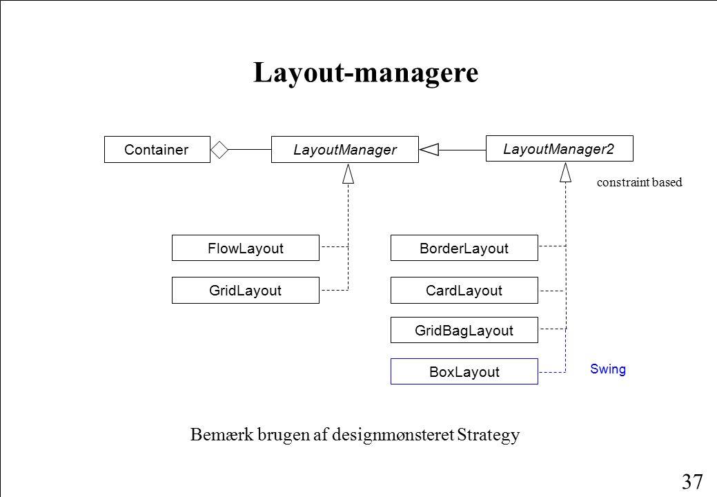 37 Layout-managere Bemærk brugen af designmønsteret Strategy ContainerLayoutManager FlowLayout GridLayout BoxLayout Swing CardLayout GridBagLayout LayoutManager2 BorderLayout constraint based