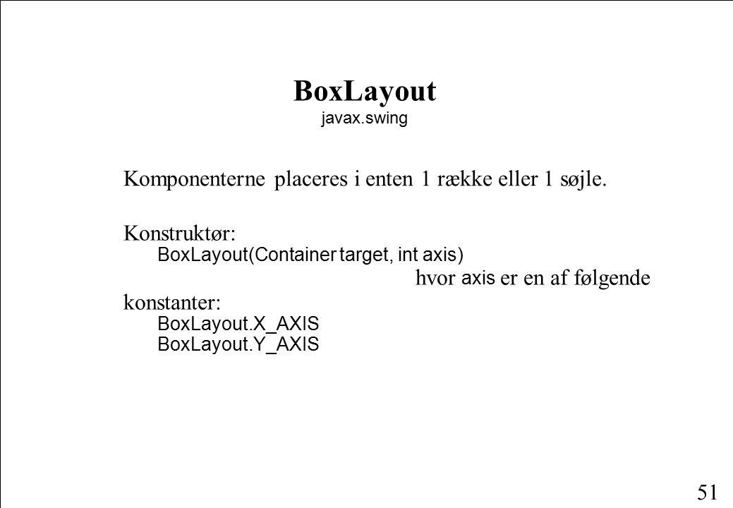 51 BoxLayout javax.swing Komponenterne placeres i enten 1 række eller 1 søjle.