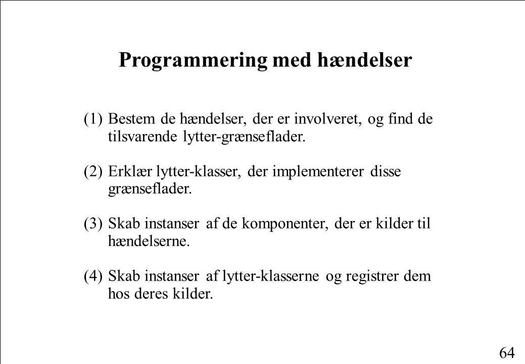 64 Programmering med hændelser (1)Bestem de hændelser, der er involveret, og find de tilsvarende lytter-grænseflader.