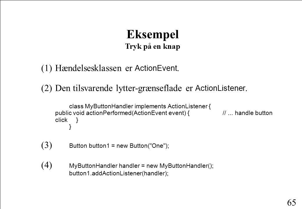 65 Eksempel Tryk på en knap (1)Hændelsesklassen er ActionEvent.