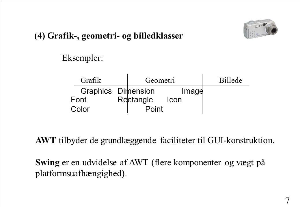 7 (4) Grafik-, geometri- og billedklasser Eksempler: Grafik Geometri Billede Graphics Dimension Image FontRectangle Icon Color Point AWT tilbyder de grundlæggende faciliteter til GUI-konstruktion.